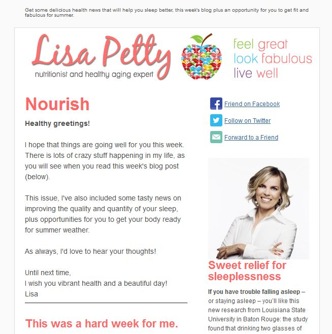 Lisa Petty e-Newsletter Template Design