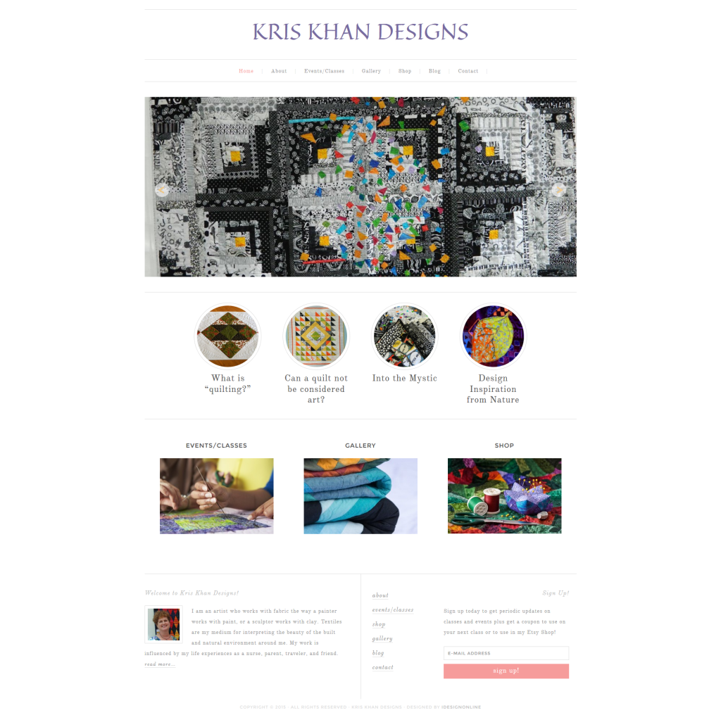 Kris Khan Designs WordPress Website
