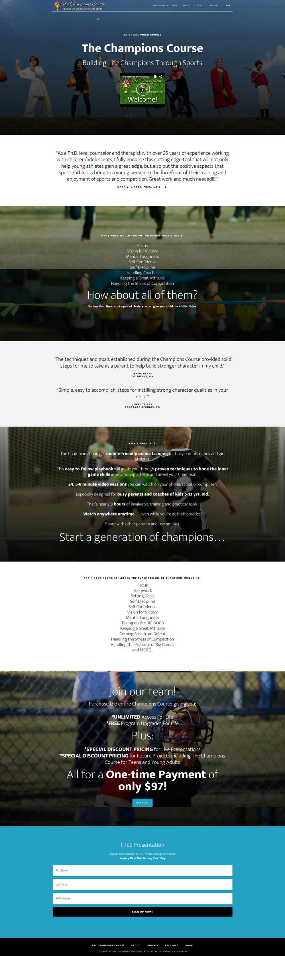 The Champions Course WordPress Website