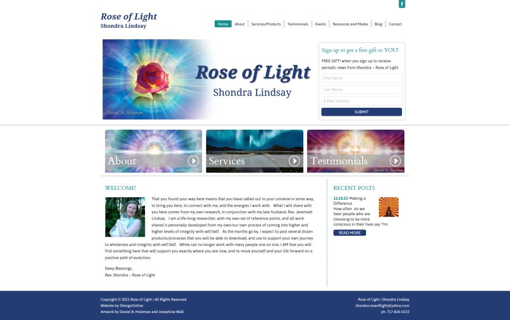 Rose of Light Website Design
