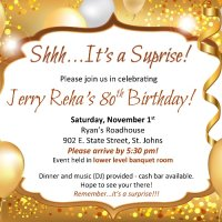 Jerry Reha 80th Birthday Party Invitation