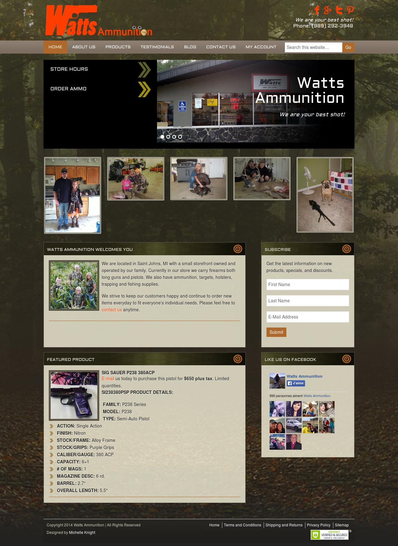 Watts Ammunition WordPress Website