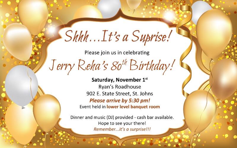 Jerry Reha 80th Birthday Party Invitation