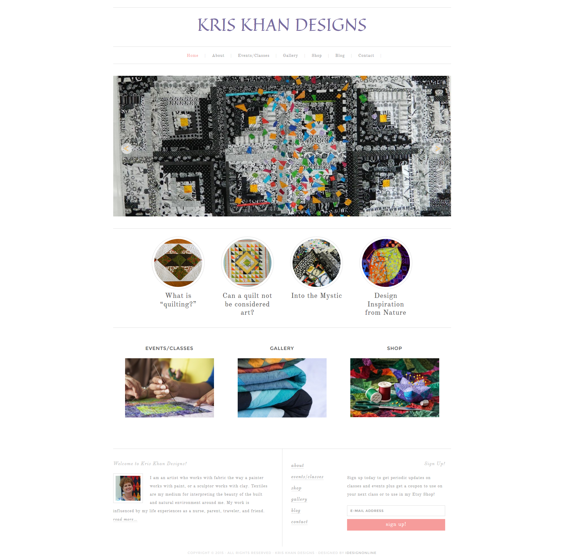 Kris Khan Designs WordPress Website